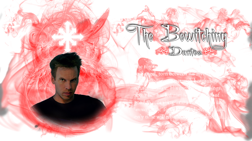 Dantes of The Bewitching characters. The tortured soul. Half-demon and half-angel, torn between his love for Elyssa and a mysterious past with her that he refuses to share. His conflicting feelings about her has led him from an angel of good to morphing into a half-demon and immortality. Torn between light and dark, only time will tell when he loses his soul...